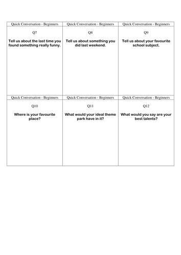 Quick Conversation Cards - Beginners' Level 2