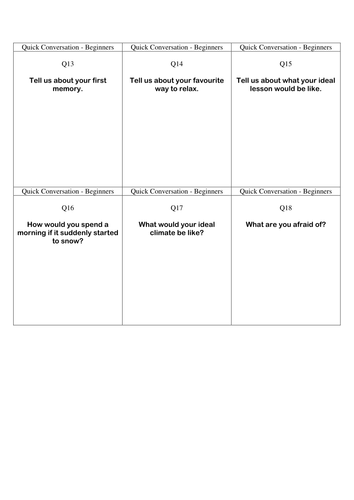 Quick Conversation Cards - Beginners' Level 3