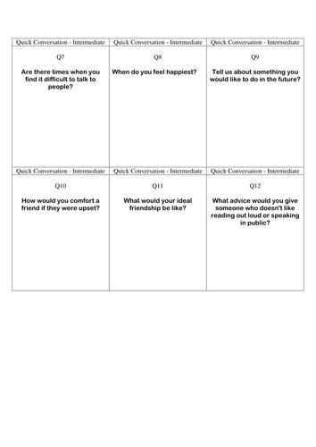 Quick Conversation Cards - Intermediate Level 2