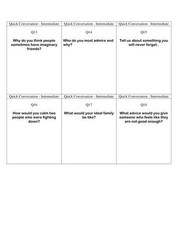 Quick Conversation Cards - Intermediate Level 3