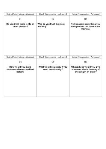 Quick Conversation Cards - Advanced Level 1