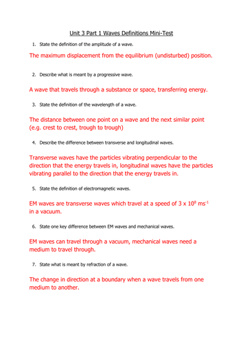 AQA AS Level Physics - Waves Section One - Definitions test