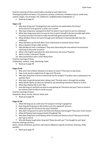 Diary Of A Wimpy Kid Cabin Fever Worksheets