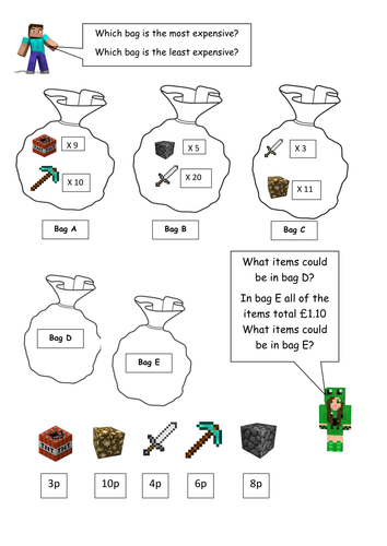 minecraft maths money worksheet key stage 1 year 2 higher ability by chesholivia teaching. Black Bedroom Furniture Sets. Home Design Ideas