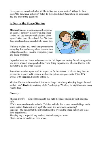 Space station reading comprehension