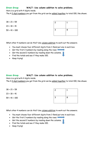 Addition problems and challenges KS1 - to reinforce column addition