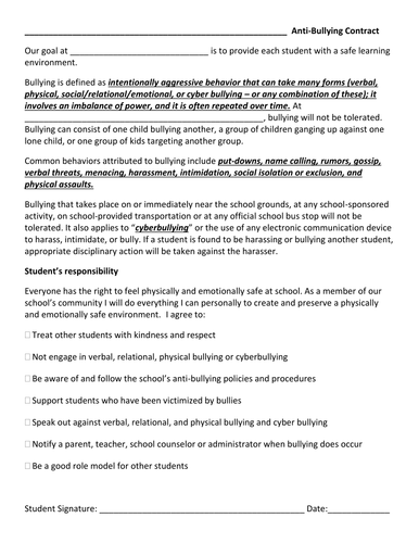 Anti-Bullying Contract