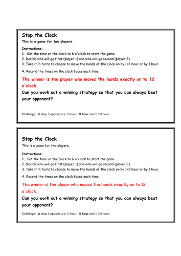 'Stop the clock' rich task and game for 2 players  to tell and record the time