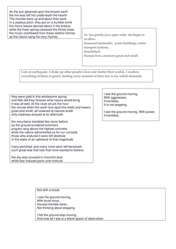 Earthquake poetry for guided reading and as models for writing