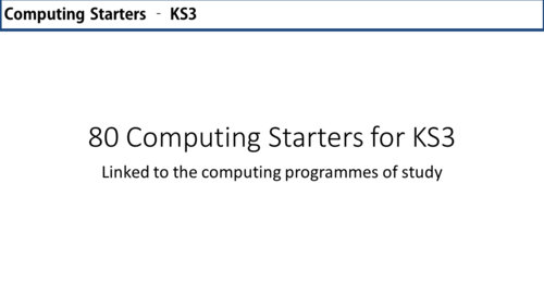 80 Quick Computing Starters for KS3