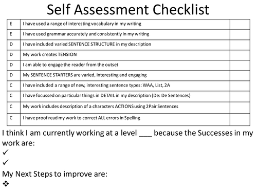 selfpeer assessment tick list by sutty6 teaching