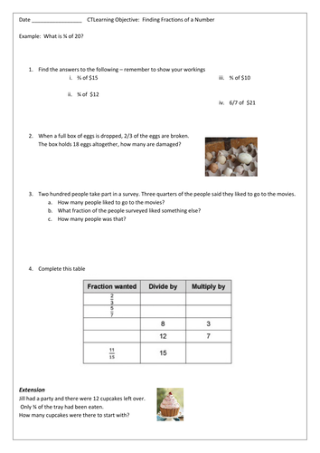 Finding Fractions of a Number worksheet