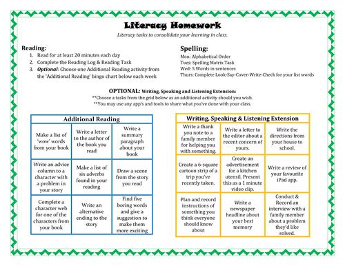 Literacy Homework
