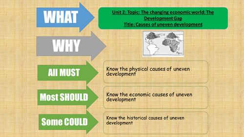AQA Geography - 2016 - The Changing Economic World - lesson 5 - Causes of uneven development