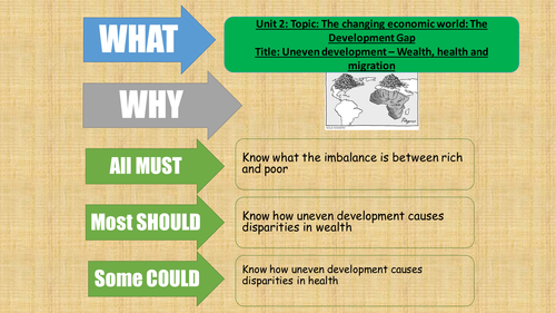 AQA Geography - 2016 - The Changing Economic World - lesson 6 - Uneven development Wealth and Health