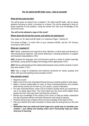 Dr Jekyll And Mr Hyde Aqa English Literature Exam Guide And Essay  Dr Jekyll And Mr Hyde Aqa English Literature Exam Guide And Essay Writing  Frame By Tori  Teaching Resources  Tes