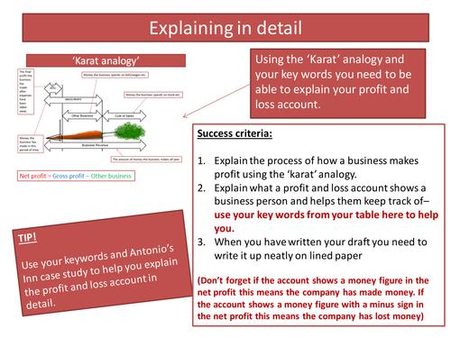VCERT Business and enterprise. Unit 3. Task 2.3. Profit and loss accounts.