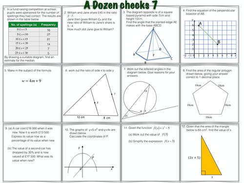 A Dozen GCSE Maths Questions worksheets 7 & 8