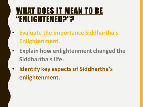 AQA Buddhism - Enlightenment of Siddthartha