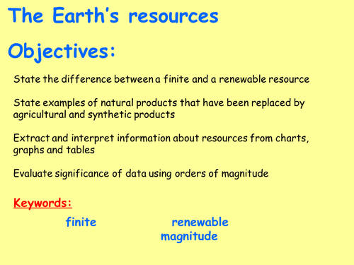 New AQA C10.1 (New GCSE Spec 4.10 - exams 2018) – The Earth's resources and sustainable development