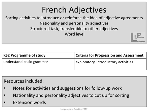 Ks2 french adjective agreement sorting activities nationality ks2 french adjective agreement sorting activities nationality and personality adjectives by languagesinprimaries teaching resources tes platinumwayz