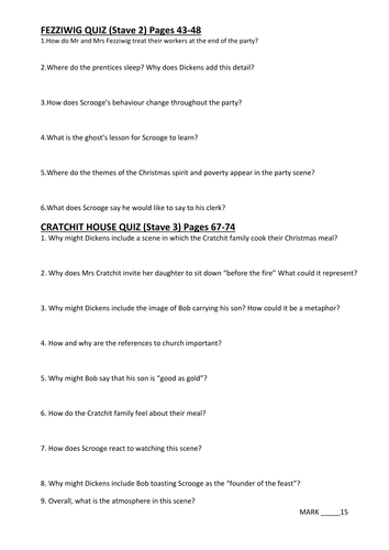 Stave 2 and 3 comprehension questions: A Christmas Carol   Teaching Resources