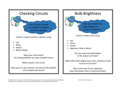 Electricity/science activity and lesson starter with learning objectives and success criteria