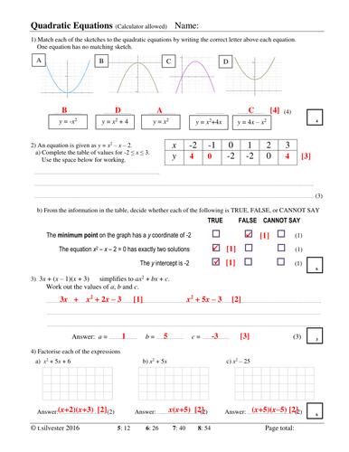 Quadratics homework or revision resource