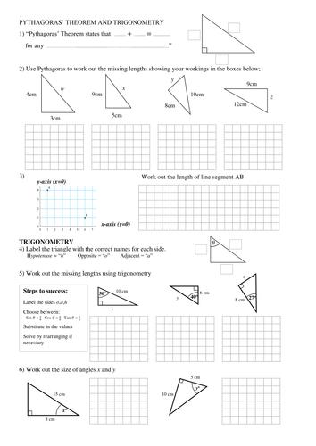 Pythagoras and Trigonometry worksheet by silvestertim - Teaching ...