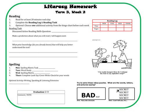 Literacy Homework 8wk Unit