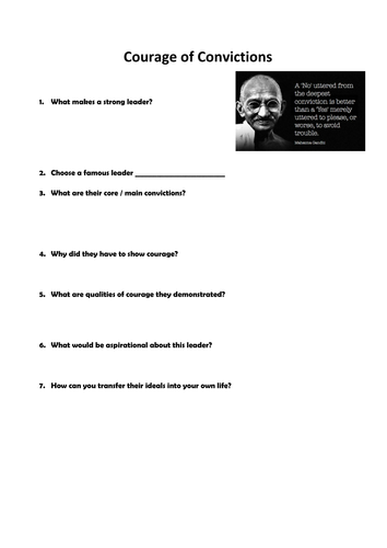 Courage of Convictions worksheet