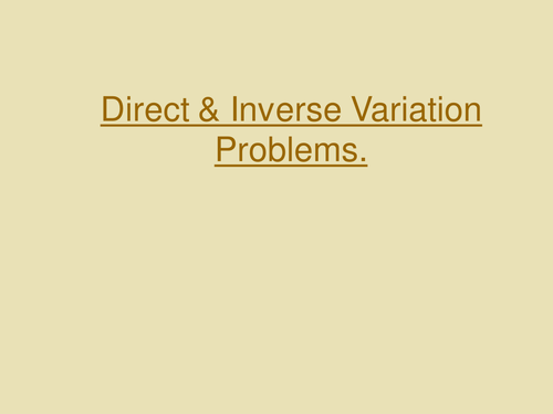 Direct and Inverse Proportion Examples Presentation