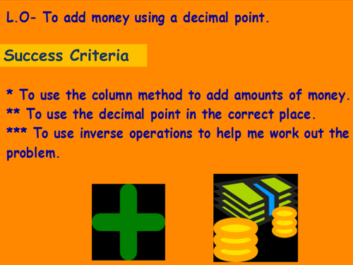 Outstanding Observation lesson on Money and adding decimal numbers