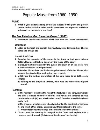 Rock & Pop Music Analysis Questions (EDUQAS)