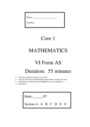 A level Maths Autumn term practice papers