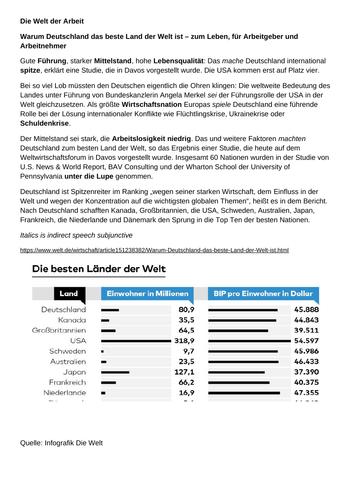 Revised NEW Year 12/13 German Preparation: Die Welt der Arbeit for Edexcel