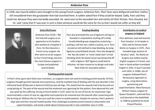 AQA (9-1) GCSE History - Health and People - Lessons 10-11 (Renaissance inc. Vesalius, Pare, Harvey)