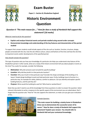 Elizabethan England - Historic Environment Question - Exam