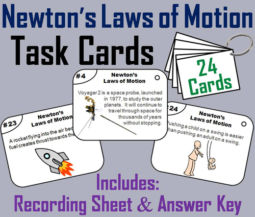 newton s laws of motion task cards by sciencespot teaching