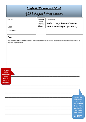 GCSE English Language Paper 1 Writing Worksheets Pack. Series 1 ...