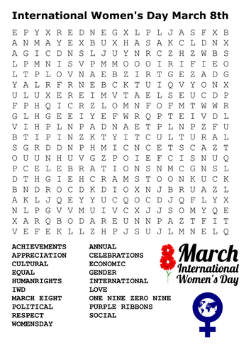 International Women S Day Word Search By Sfy773 Teaching