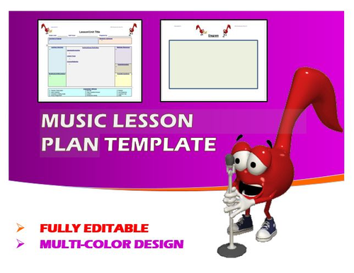 Lesson Plan Template Music Editable By Ejpc Teaching - Music lesson plan template