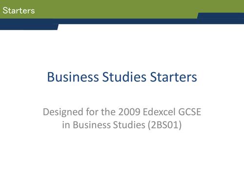 GCSE Business Studies Starters