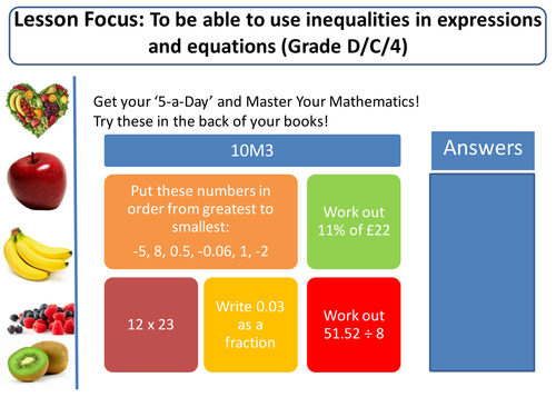 Inequalities! (Intro, Number lines, Solving, Graphs)