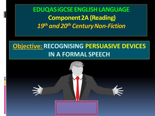 NEW EDUQAS iGCSE LANGUAGE COMPONENT 2a - A FORMAL SPEECH