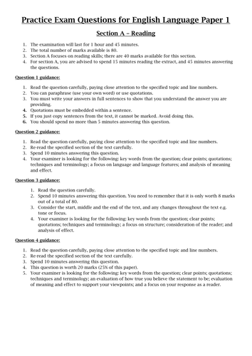 aqa english language paper  reading questions by cagodlington  aqa english language paper  reading questions by cagodlington  teaching  resources  tes