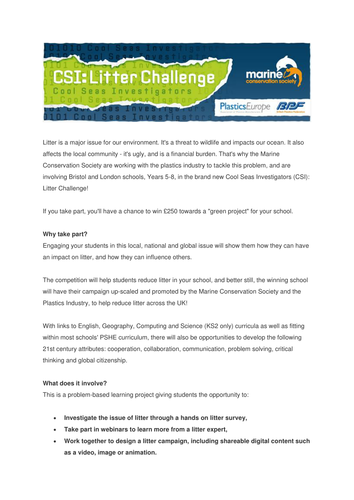 CSI: Litter Challenge – exciting new litter project for your school with the chance to win £250