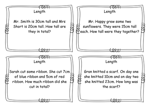 year 2 length word problems task cards early morning differentiated by acrosbie. Black Bedroom Furniture Sets. Home Design Ideas