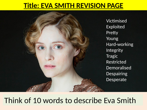 Who is responsible for the death of Eva Smith An Inspector Calls – Black Death Worksheet