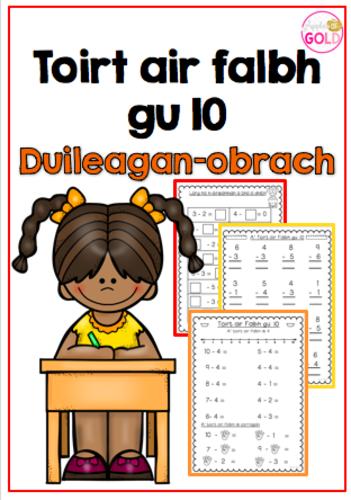 Toirt air Falbh gu 10 - Duilleagan-obrach (Subtraction to 10 -Worksheets)